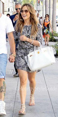 Jennifer Lopez in snake skin print mini shirt dress in Beverly Hills