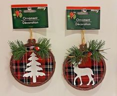 Details about Set of 2 Holiday 4 Inch Plaid Round Rustic Cabin Tree Deer Christmas Ornaments w Christmas Deer, Diy Christmas Ornaments, Country Christmas, Christmas Balls, Christmas Projects, Handmade Christmas, Christmas Wreaths, Christmas Crafts, Christmas Decorations