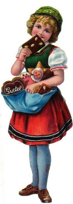 Antique Christmas Diecut Scrap.... Gretel