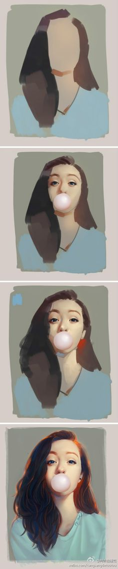 Step-by-step digital painting tutorial of an asian girl with bubble gum…