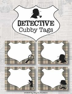This listing contains four variations of mystery detective Cubby Tags or Labels featuring classic detective silhouettes and the signature detective's brown plaid backgrounds. Each tag/label is of a page, measuring and includes a blank shield space for Preschool Classroom, Classroom Themes, Mission Impossible Theme, Cubby Tags, Kids Klub, Detective Theme, Spy Party, First Year Teachers, Readers Workshop