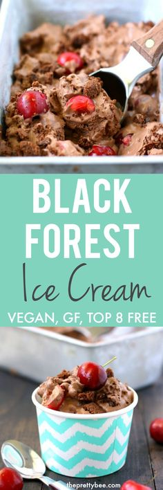 Could You Eat Pizza With Sort Two Diabetic Issues? Extra Creamy And Delicious Vegan Black Forest Ice Cream Is A Perfect Summer Dessert Vegan Dessert Recipes, Delicious Vegan Recipes, Vegan Sweets, Vegan Snacks, Gluten Free Desserts, Dairy Free Recipes, Delicious Desserts, Vegan Food, Raw Vegan