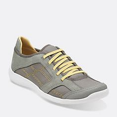 Arbor Jade Grey Nubuck with Yellow accent - Womens Shoes - Womens Active Shoes - Clarks