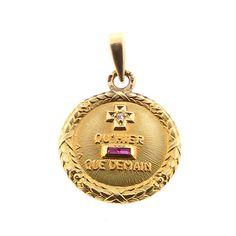 A. Augis French 18K Gold Diamond Ruby PLUS QU'HIER Love Token Pendant