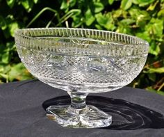 Creative Antique Cut Crystal Compote Nut Dish Candy Bowl Footed Sawtooth Edge Brilliant R Glass