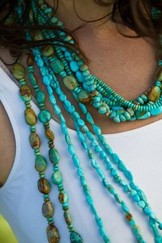 Brit West. These are one of a kind Turquoise pieces that can be recreated for you on request. They combine Kingman, Emerald Valley, Number 8 mine, and Sleeping Beauty for a dancing color combination of pastel blues and greens.
