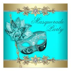 Turquoise Quince Invitations | Gold & Turquoise Masquerade Party Invitations | Zazzle.co.uk
