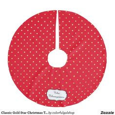 Classic Gold Star Christmas Tree Custom Color Brushed Polyester Tree Skirt