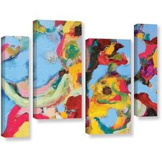 ArtWall Allan Friedlander Gathering Season 4-Piece Gallery-wrapped Canvas Staggered Set, Size: 24 x 36, Red