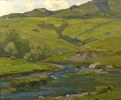 William Wendt (1865-1946). Rushing Onward. Oil on Canvas, 25 x 30 in.