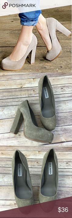 Steve Madden Suede Leather Chunk Heel taupe Excellent condition. 5 inch heel with a hidden platform. Steve Madden Shoes Heels