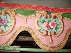 Hand painted pelmet from a fair ride. Adore it's precious colours!