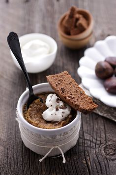 Cannelle et Vanille: Chestnut Flan with Double Chocolate and Crystalized Ginger Biscotti