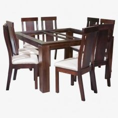 Juego comedor milan cuadrado 8 sillas (chocolate) Glass Dining Room Table, Dining Table Design, Dining Chairs, Chocolate, Furniture, Green, Home Decor, Design Table, Home