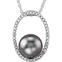 Tahitian Cultured Pearl & Diamond Necklace in 14KT White Gold 69055:64914 - Make her eyes shine and her heart skip a beat by surprising her with this beautiful piece of jewelry. This piece will surely make her feel loved and special. Definitely a must have from Global Rings