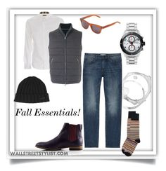 Fall Essentials by wallststylist on Polyvore featuring Burberry, DL1961 Premium Denim, N.Peal, Paul Smith, Montblanc, Yves Saint Laurent, Dsquared2, men's fashion, menswear and MensFashion www.WallStreetStylist.com