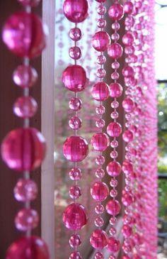 Beaded Curtain -- Hot Pink Mini Balls