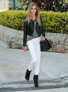 Black leather jacket with white pants