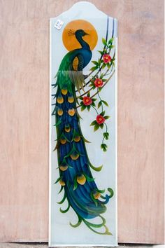 Attractively designed peacock image on the glass slab. Glass Etching Designs, Glass Painting Designs, Paint Designs, Balcony Glass Design, Window Glass Design, Etched Glass Door, Stained Glass Door, Wooden Front Door Design, Image Glass