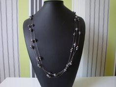 Long Grey Pearl Floating Necklace by traceysjewellery on Etsy, £12.99