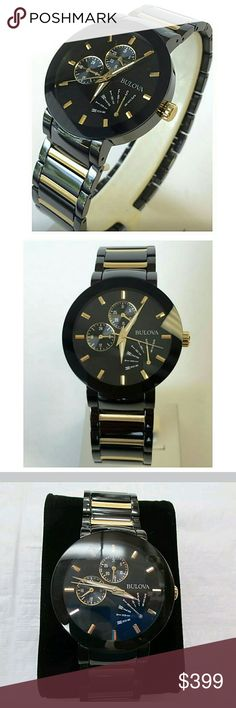 NWT Bulova men's two tone stainless Bulova Men's Watch Two-Tone Stainless Steel watch.?   FIRM PRICE FIRM PRICE  $399.00  . AUTHENTIC WATCH  . AUTHENTIC BOX  . AUTHENTIC MANUAL    SHIPPING?  PLEASE ALLOW FEW BUSINESS DAYS FOR ME TO SHIPPED IT OFF.I HAVE TO GET IT FROM MY STORE.?   THANK YOU FOR YOUR UNDERSTANDING. Bulova Accessories Hats