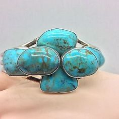 Navajo Senora Blue Turquoise Stacked Stone Sterling Bracelet Emer Thompson   eBay