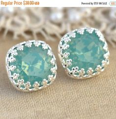 Hey, I found this really awesome Etsy listing at https://www.etsy.com/listing/212197332/silver-opal-mint-studs-mint-silver