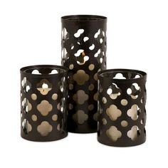 IMAX Norte Cutwork Wrought Iron and Glass Votives (Set of 3) Want for outside fire pit tables