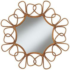 This comforting round wall mirror has the look of a sunburst or sunflower. 31 wide x 31 high x 2 deep. Surrounding frame is 6 wide. Style # at Lamps Plus. Large Round Mirror, Round Wall Mirror, Round Mirrors, Wall Mirrors For Sale, I Love Mirrors, Mirror Lamp, Sunburst Mirror, Copper Mirror, Beveled Mirror