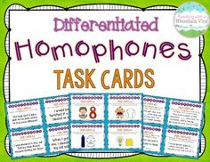 44 *FUN* homophone task cards using both pictures and text! 4th Grade Spelling, Teaching Resources, Teaching Ideas, Vocabulary Activities, Text Pictures, Reading Intervention, Reading Workshop, Math For Kids, Differentiation