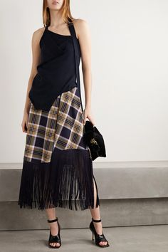 Monse - Upside Down layered merino wool halterneck top Dress Skirt, Midi Skirt, Personal Shopping, Midnight Blue, Merino Wool, Perfect Fit, Classic Style, Designer Dresses, Crew Neck