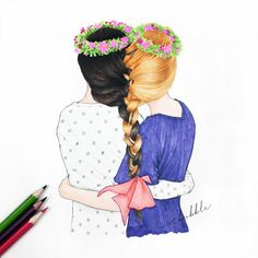 Besties for live Best Friend Drawings, Bff Drawings, Bff Pics, Best Friend Pictures, Bff Pictures, Sisters Drawing, Sisters Art, Art Mignon, Dear Best Friend