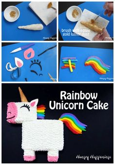 Use candy clay to create the horn ears eye mouth nose tail and mane for this colorful Rainbow Unicorn Cake. It's easy to make the candy clay and to decorate this cake. Unicorn Birthday, Unicorn Party, Easy Unicorn Cake, Gold Luster Dust, Tie Dye Rainbow, Pink Frosting, White Cake Mixes, Thing 1, Modeling Chocolate