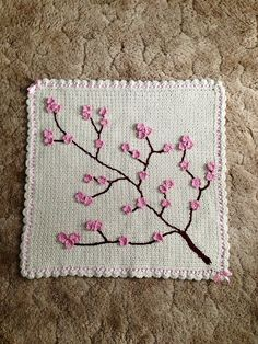 Cherry Blossom Baby Blanket by CasbonCottage on Etsy, $85.00