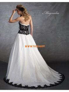 Gorgeous Strapless Princess Black Lace WHite Organza Couture Wedding Dresses 2013