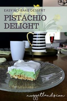 Pistachio Delight is a nostalgic treat for me but also a great no bake dessert to bring to Easter Brunch, a festive St. Patty's Day dinner or a summer BBQ.