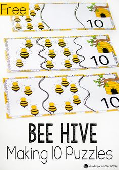 Introduce addition to your kindergarteners with these fun bee hive puzzles for making 10. Great for a spring or bug unit! #springmathgames #freemathgames