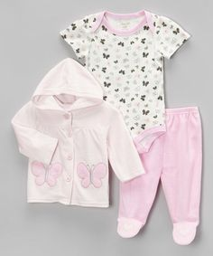 Love this Pink Butterfly Velour Hooded Jacket Set on #zulily! #zulilyfinds