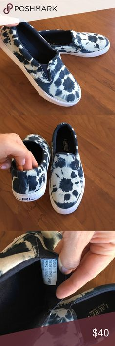 🆕Ralph Lauren new with tag. Size 7 Nice with jeans. Leather upper tyedye. No box. On pictures they're more bright. In reality not very bright . Ralph Lauren Shoes Flats & Loafers
