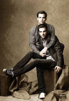 Zachary Quinto & Chris Pine  http://images5.fanpop.com/image/photos/29900000/Zachary-Quinto-and-Chris-Pine-chris-pine-and-zachary-quinto-29977346-478-700.jpg
