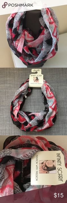 Lavello Designer infinity scarf. Infinity scarf in Red, black, pink and light gray colored.  Machine wash 100% viscose.  You can do basic loop, double loop, doubled or hooded. Brand new . Lavello Accessories Scarves & Wraps