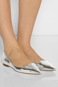 These are SEXY also!! Jimmy Choo|Attila mirrored-leather point-toe flats|NET-A-PORTER.COM