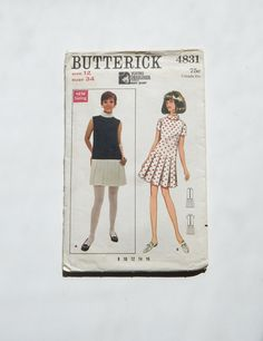 Vintage Mary Quant Sewing Pattern Butterick 4831 Young Designer London 60's Mid Century Mod Fashion Drop Waist Dress w Pleated Skirt by OffbeatAvenue on Etsy