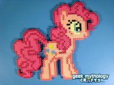 Here is Pinkie Pie from My LIttle Pony Friendship is Magic. She is cheerful and always ready to party!  ITEM DETAILS: Pinkie Pie is hand-crafted from plastic fuse beads. A mix of Perler, Hama, and Photo Pearl beads is used for maximum color variety and detail!  MEASUREMENTS: Pinkie Pie meas...
