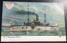 ORIGINAL VINTAGE 1908 UNUSED  U. S. BATTLESHIP TEXAS POSTCARD