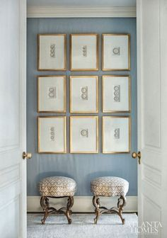 Interior designer Suzanne Kasler gallery wall in her own home. Photos by Erica George Dines for Atlanta Homes.