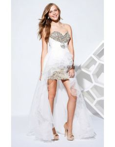 A Line Sweetheart Asymmetrical White Organza Beadings Sequins 2014 Prom Dresses