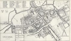 Oxford University Map of Colleges dating back and showing the colleges with a numbered key in 1643. a preview to Intriguing Oxford and Oxfordshire.
