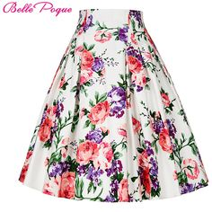 50s Floral Print Skirts Womens faldas Summer Style Pleated Plus Size Retro Casual Vintage Skater Skirt Patterns saia feminina ** Click image for more details.