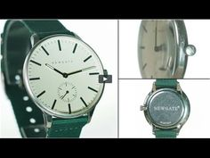 The Blip watch by Newgate Watches. Steel watch with green canvas strap.